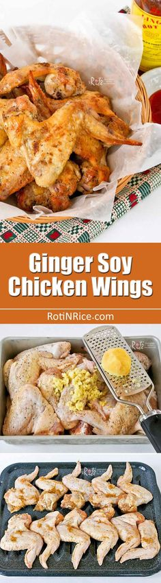 These grilled or roasted Ginger Soy Chicken Wings are always popular. The simple and tasty marinade can also be used on other meats and seafood. | RotiNRice.com