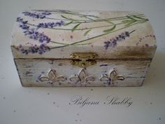 Box upcycle:  Glue and paint with distress white paint and free hand florals   From: Biljana Shabby: Shabby chic skrinja za vjencanje