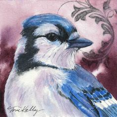 Bird watercolor painting Blue Jay Giclée print by tonikelly, $12.00
