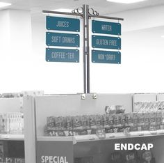 liquor store shelving aisle sign markers RAYMOND ENDCAP - Supermarket Gondola Shelving Aisle Signs - Add Your Copy Free!