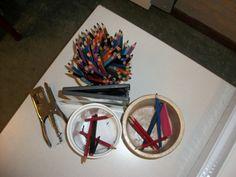 Potloden-wisselsysteem. - Bakje voor grijze potloden - Bakje voor kleurpotloden - Bakje voor potloden die geslepen moeten worden