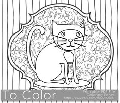 2nd Printable Whimsical Cat Coloring Page For Adults PDF JPG Instant Download Book Sheet Grown Ups Digital Stamp