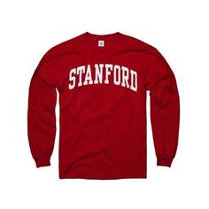 Stanford Cardinal Cardinal Arch Long Sleeve T-Shirt ($17) ❤ liked on Polyvore featuring tops, t-shirts, longsleeve t shirts, longsleeve tee, red top, red t shirt and red tee