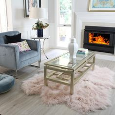 Feeling a little blush. Add pink fur to your floors. Real Mongolian sheepskin fur area floor rug in blush pink. Design and made in Australia by Eluxury Home.