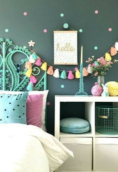 Interior for kids - Easy ways to inject colour into a child's interior space. Simple DIY ideas for teen and tween girls bedrooms. Interior for kids - Easy ways to inject colour into a child's interior space. Summer Bedroom, Warm Bedroom, Bedroom Green, Bedroom Sets, Light Bedroom, Dream Bedroom, Teen Girl Bedrooms, Kids Bedroom Ideas For Girls Tween, Kids Rooms