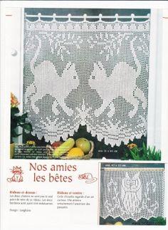 Cat   Gardine häkeln - crochet curtain - cortinas