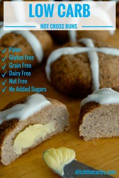 Low Carb Hot Cross Buns which are also dairy free, nut free, gluten free and no added sugar. See the Paleo Easter Eggs too for a special treat. | ditchthecarbs.com