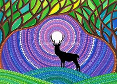 Inspired by the strong, silent visitors I encounter here in the magical land of Canada. It is a reassuring and thrilling thought that they wander unheard and unseen about me. The stag is often considered as symbolic of a lover of peace and harmony, of great strength and foresight. / Original Acrylic on Canvas, 2012 • Buy this artwork on apparel, stickers, phone cases y more.