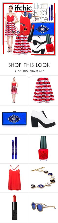 """""""Red, White & Blue Outfit"""" by calamity-jane-always ❤ liked on Polyvore featuring Pink Tartan, Noir, Miista, By Terry, OPI, Alice & Trixie, Monday Edition, NARS Cosmetics, Etnia Barcelona and redwhiteandblue"""