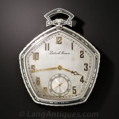 A distinguished and highly distinctive open face pocket watch crafted in platinum and accented with black enamel in a striking and sophisticated pentagonal Art Deco design by Dietrich Gruen, the founder of the renowned Gruen Watch Co. A rare and wonderful collectible. Silvered dial, gold hands and Arabic chapter markers, sub second dial, 19 Jewels movement. | langantiques.com