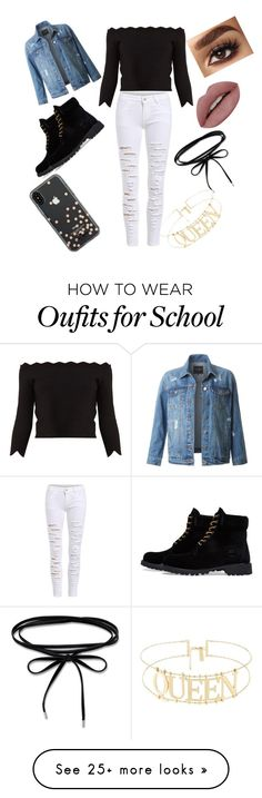 """""""winter cute school outfit"""" by cynthiarcampos23 on Polyvore featuring Alexander McQueen, LE3NO, Timberland and Kate Spade"""