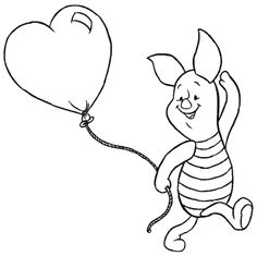 Piglet And Heart shaped Baloon Coloring page