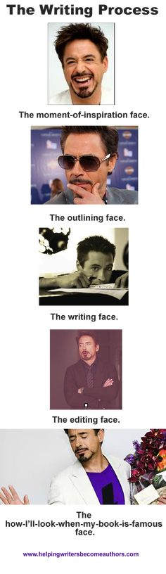 The Writing Process (a la Robert Downey, Jr.) Not going to lie, I'm mostly repinning because it's all Robert Downey, Jr. I don't outline much, and I tend to edit chapter-by-chapter, which I know is a horrible way to go, but I've been posting it online...