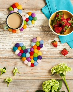 Create a colorful Mickey coaster to add some flair to your coffee table or desk! | DIY Disney home decor | [ http://family.disney.com/craft/wool-felt-ball-mickey-coasters ]