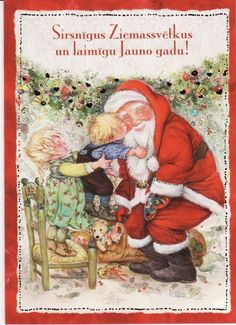 Christmas card by Lisi Martin.  Lisi Martin is a Spanish artist and illustrator famous for her highly detailed and romanticized pictures of children.The card is folded. There is text in Latvian.