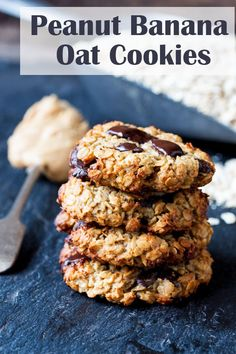 Peanut Banana Oat Cookies - egg, flour, butter free. No added refined sugar. So…