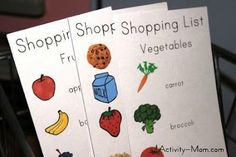 ThesePrintable Pretend Play Grocery Listshave spiced up the kids' pretend play in the kitchen and grocery store!     They are perfect for matching, c
