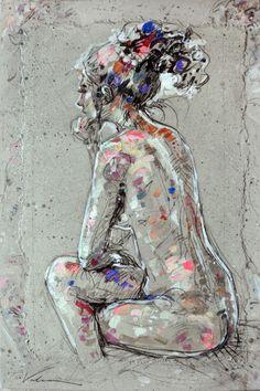 CHARLIE 2 (la penseuse) - Peinture,  60x90 cm ©2014 par Raluca Vulcan -                                            Art figuratif, Femmes, femme, femmes, nu, nues, penseuse, personnage, personnages PERSONNAGE, FEMME