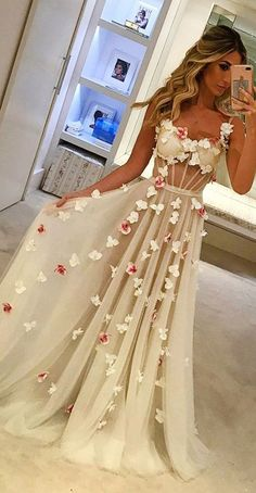 Prom Dress For Teens, Spaghetti Straps See Through Long A-Line Ivory Prom Dresses With Appliques, cheap prom dresses, beautiful dresses for prom. Best prom gowns online to make you the spotlight for special occasions. Ivory Prom Dresses, Unique Prom Dresses, Backless Prom Dresses, Tulle Prom Dress, Cheap Dresses, Pretty Dresses, Homecoming Dresses, Beautiful Dresses, Evening Dresses