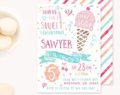 Ice Cream Invitation Ice cream Birthday Invitation Ice cream
