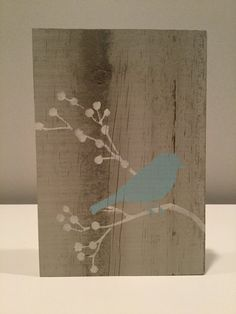 "Bird and twig on reclaimed wood bird on by HampsteadCreek on Etsy.  I love bringing nature indoors! That can easily be done with this beautiful reclaimed wood plaque. This beautiful bird on branch silhouette design is painted on with robins egg blue and antique parchment acrylic paints. This 5 1/2"" x 8"" x 3/4"" sign is custom made from reclaimed fence wood. Bird and twig on reclaimed wood, bird on reclaimed wood, bird on branch silhouette design, hand painted wood wall art, rustic art"