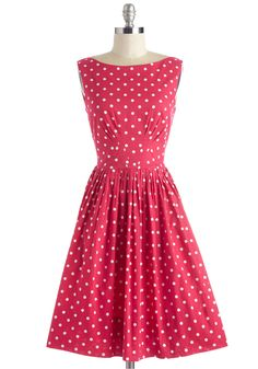 Daytrip Darling Dress in Dots. When you only have one day away, make it count in this dotted dress from hard-to-find British brand Emily and Fin! #pink #modcloth