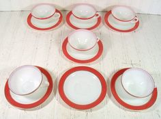 Retro Pyrex 6 Sets of Cups & Saucers Collection  by DivineOrders, $35.00
