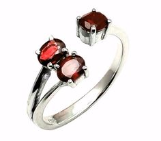 Latest New 925 Sterling Silver Natural Garnet Gemstone Women's Jewelery Ring #SimSimSilver #New