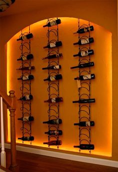 Wine wall in the basement.  Love!    Now the only problem would be is how to keep wine stocked in it....