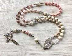 Rosary Guardian Angel handmade catholic rosary beads  by Rosenkranz-Atelier Pastel mix prayer beads catholic jewelry by RosenkranzAtelier on Etsy