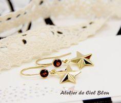 14K Gold Filled Garnet Star Earrings by AtelierdeCielBleu