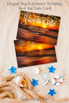 Your dream of a great beach wedding will soon come true and it starts with our great Elegant Beach Summer Wedding Save the Date Card. Personalizing is super easy. You will love it. Don`t delay to contact me for design requests and custom-made products.