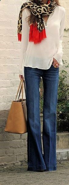 Wide-leg Denim, lovely shirt.  I just don't love the scarf.
