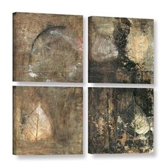 ArtWall Elena Ray 'Bodhi Leaf Skeletons' 4 Piece Gallery-wrapped Canvas Square Set