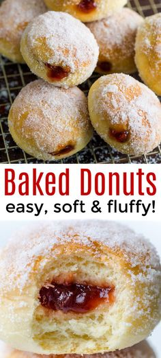 Donuts Filled with Jelly (VIDEO) - - The fluffiest, melt-in-your-mouth delicious baked donut recipe! These are stuffed with jelly and co -Baked Donuts Filled with Jelly (VIDEO) - - The fluffiest, melt-in-your-mouth delicious baked donut recipe! Baked Donut Recipes, Baked Doughnuts, Baking Recipes, Cookie Recipes, Recipe Doughnuts, Yeast Donuts, Doughnut Muffins, Jelly Recipes, Baked Jelly Doughnut Recipe