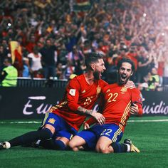 Isco Alarcon with Sergio Ramos in Santiago Bernabeu vs Italy National Team