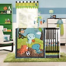 Blue And Green Animal Themed Dinosaurs Infant Baby Boy 4pc Nursery Bedding Set Crib