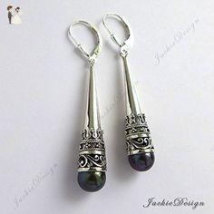 """Tahitian Pearl 2.25"""" Long Tear Drop Bali Sterling Silver Earrings JD118-B - Wedding earings (*Amazon Partner-Link)"""