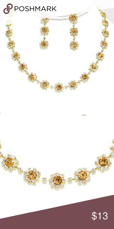 "Collar Necklace + Earring Set • Necklace Size : 14"" + 4"" L  • Decor Size : 3/8"" L  • Earrings Size : 1 1/2"" L • Floral Crystal Rhinestone Collar Necklace Jewelry Necklaces"