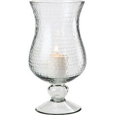 "Large Clear Glass Hurricane Candle Holder.  5"" D x 10"" H. Antique style in ethereal sea glass. Mix and Match with our many other vintage styles. For flowers or our use with our Flameless Tea Lights or Pillar Candles."