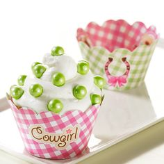 Pink Cowgirl Party Supplies - Reversible Cupcake Wrappers (12) >> Huge discounts available now! : Baking desserts tools