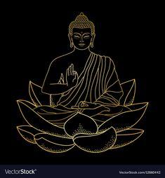 Gold Buddha sitting on Lotus vector image on VectorStock Lotus Painting, Buddha Painting, Dot Art Painting, Buddha Artwork, Buddha Wall Art, Buddha Tattoo Design, Buddha Tattoos, Buddha Drawing, Chakra Art