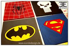 """SUPER HEROES"" signs, MARVEL fanart (spiderman, punisher, batman & superman), customized Styrofoam artwork by E&E DESIGN GbR, 54292 Trier www.eundedesign.com www.facebook.com/eundedesign www.instagram.com/eundedesign #styrofoam #fanart #spiderman #superman #batman #punisher #eundedesign"
