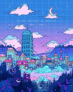 Lavender Town by SeerLight -You can find Animation and more on our website.Lavender Town by . Pixel Art, Cute Art, Anime Scenery, Vaporwave Art, Art, Anime Wallpaper, Aesthetic Anime, Kawaii Art, Aesthetic Art