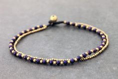 Purple Faceted Crystal Brass Double Strand Anklet