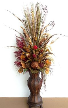 Six feet tall dried floral arrangement with pheasant feathers. By Arcadia Floral. - Six feet tall dried floral arrangement with pheasant feathers. By Arcadia Floral & Home Decor - Large Flower Arrangements, Artificial Floral Arrangements, Fall Arrangements, Flower Vases, Artificial Flowers, Faux Flowers, Dried Flowers, Silk Flowers, Ikebana