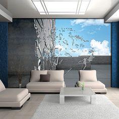Poster Tapeten Fototapete Bild Himmel Glas Blau Wand Grau Abstraktion 3d 2804 P4