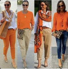 Casual Work Outfits, Mode Outfits, Stylish Outfits, Fall Outfits, Fashion Outfits, Womens Fashion, Orange Outfits, Fashion Over 50, Work Fashion