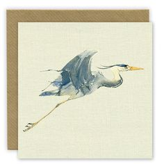 Linen textured printed note card that just looks like fabric! Flying Heron watercolour illustration. These birds always look like clock work flying machines, rather amazing I think...  I provide a write and send service, your message can be printed inside the card and sent directly to the recipient  Each card is blank inside so you can write your own special message and comes with a natural coloured envelope and cello wrap.  You can choose our write and send service at no extra cost. Please…
