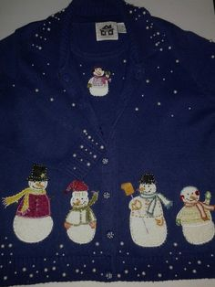 Storybook Knits  Snowmen Embellished Pearls Beaded Winter 2 Piece Sweater Sz M #StorybookKnits #CollardCardigan